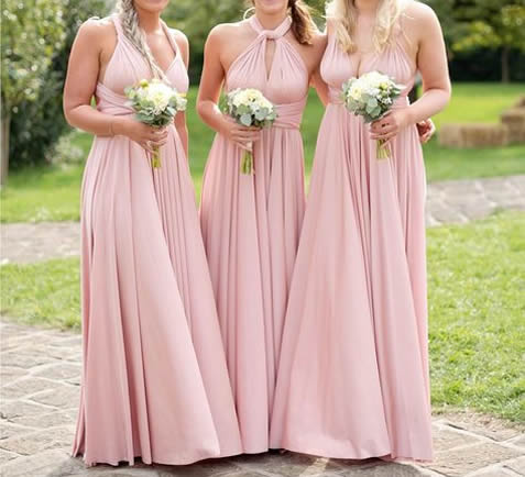 Set of 3 Pink, White Infinity Dresses, Long Convertible Bridesmaid Dress, Evening Dress, Convertible Evening dress floor length