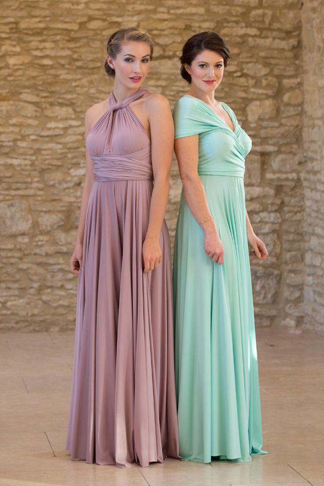 2 Infinity Bridesmaid Dress Set, Purple, Green Floor Length ...
