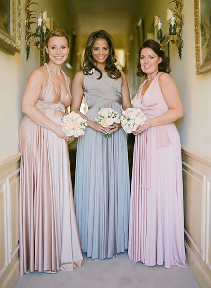 Set of 3 Pink, Grey, Champagne Bridesmaid dress, Long Infinity Dress, Convertible Wrap Dress Bridesmaid, Bridal Dress