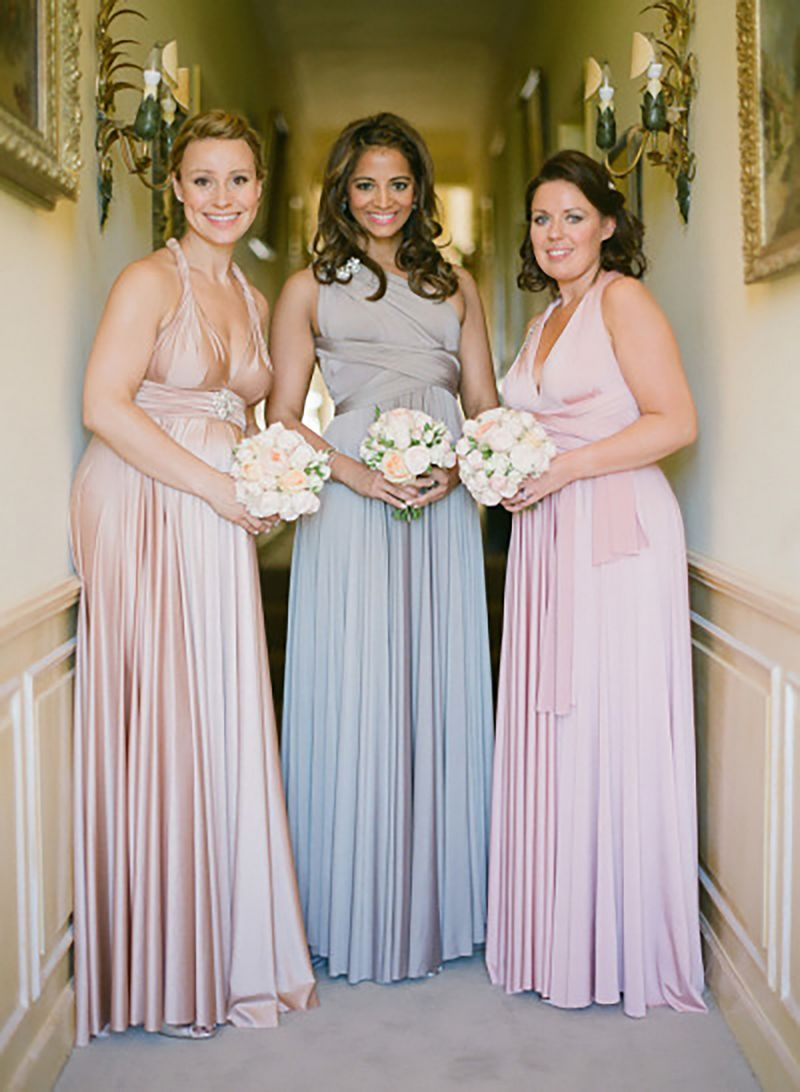 Of 3 pink grey champagne bridesmaid dress long infinity dress set of 3 pink grey champagne bridesmaid dress long infinity dress convertible wrap dress bridesmaid bridal dress ombrellifo Images